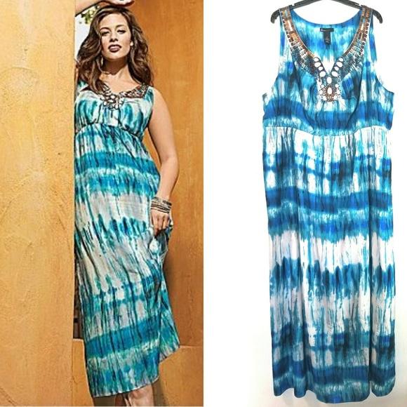 5f7935aca22 Lane Bryant Dresses   Skirts - 28 Lane Bryant Beaded Blue Tie Dye Maxi Dress
